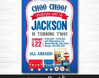 Vintage Train Invitation, Train Birthday Party, Chugga Chugga Two Two, Choo Choo Train, Digital Personalized Invite, You Print
