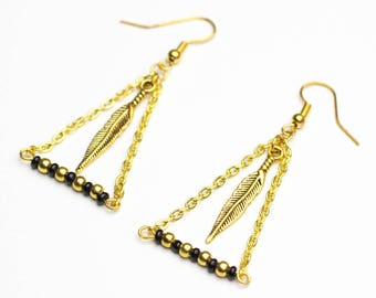 Scandinavian earrings Golden Feather