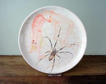 Plate spider girl, in color, ceramics, art, handpainted, food-safe, use, unique