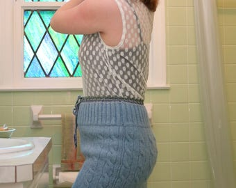 Blue and Green Wool Sweater Skirt