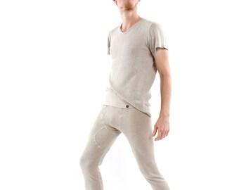 Hemp Leggings, Men, Organic Fashion, Handmade, Vegan, 100% Hemp