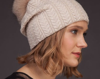 Beige Cashmere Women Beanie Hat With Natural Fox Fur Pom-Pom, Skiing / Sports / Outdoor Hat