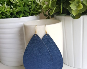 Sapphire Vegan Leather Earrings   Faux Leather Earrings  Lightweight Earrings   Leather Tear Drop Earrings