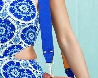 KLASPE Emerald Blue Vegan Leather Strap Removable Handbag Strap Purse Strap Interchangeable Strap Replacement
