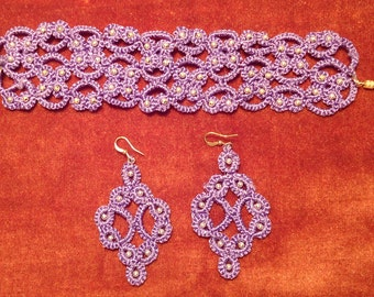 "Custom Order ~ ""Violet"" Set of Hand-Tatted Beaded Bracelet and Earrings – Romantic, Bridal, Vintage, Retro, Wedding, Antique"