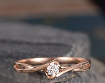 Solitaire Diamond Ring Rose Gold Engagement Ring Infinity Curved Cross Band Anniversary Promise Ring Eternity Women Ring Bridal Solid 14K