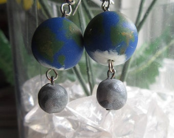 Earth and Moon Earrings, space earrings, astronomy earrings, solar system jewelry, Earth Day jewelry, polymer clay