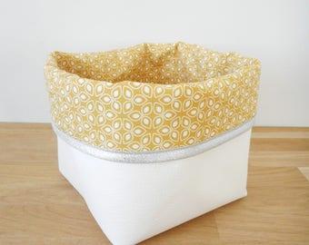 Panier de rangement petit modèle en simili cuir blanc et tissu jaune imprimé fleurs bord pailleté argenté - cache pot - vide poche