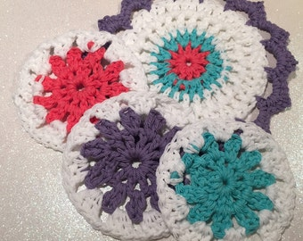 100% Cotton Crochet Face Scrubbie , Set of 4 , Crochet Washcloth , Handmade , Reusable , Makeup remover , Eco-friendy