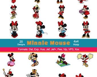 20 Disney Minnie Mouse Machine Embroidery Designs
