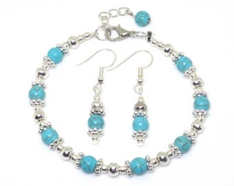 Semi Precious Turquoise & Silver Bead Bracelet and Earring Set