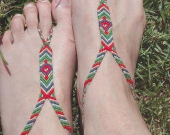 Foot jewelry / Barefoot way scapular, red/green/blue bracelet