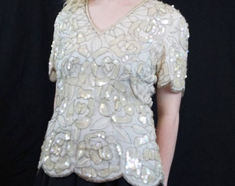 Vintage Adrianna Papell White Rose Sequin & Silk Beaded Blouse