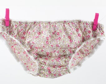 Panties  in Liberty Eloïse light pink for little girls from 2 to 10 years old.