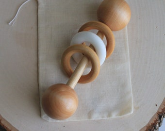 Wooden Rattle, WHITE, Silicone Teether, Organic Baby Toy, Baby Rattle, Wooden Baby Toy, Baby Toy, Montessori, Wood Baby Rattle, Baby Shower