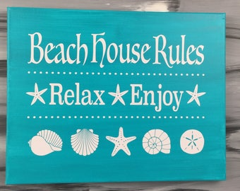 "Beach Picture - Beach Sign - Beach House Rules -  Sea Shell - Sand Dollar - Star Fish - 11"" X 14"" Canvas with White Vinyl - Teal Sign"