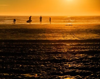 Sunset Beach Photography, Surfers on Cannon Beach, Oregon Coast, Summer, Ocean, Coastal Large Print Decor