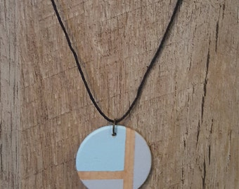Painted wood pendant necklace