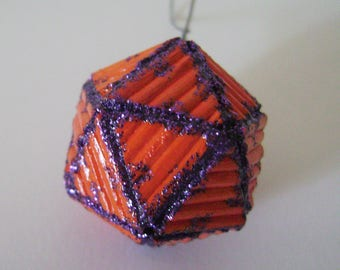 "4 pieces-Christmas Ball ""icosahedron"" with handmade toothpicks"