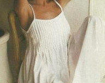 Ladies white  cotton nightdress, narrow shoulder straps and pintuck bodice. Style CLARISSA