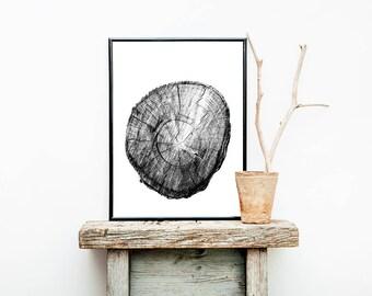 Tree Trunk Print, Digital Download, Modern Scandinavian Print, Minimalist Decor, Forest Art Print, Nature Photography, Black And White