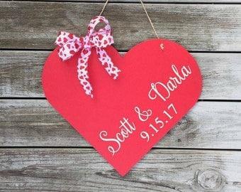 Personalized wood heart Valenitine gift Personalized wood heart door hanger personalized heart sign & Heart door hanger   Etsy