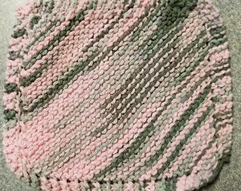 Handmade Knitted Dishcloth - Pink Camo