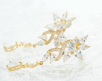 Bridal Zirconia Earrings Wedding Chandelier Earrings Bridal CZ Earrings Wedding Earring Bridal Dangle Earrings Bridal Jewelry Wedding Zircon