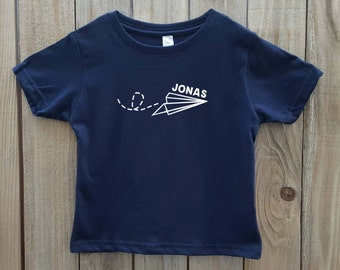 Paper airplane shirt, paper airplane kid's shirt, airplane shirt for kids, personalized kid's shirt, kid's shirt with name, kid's clothes