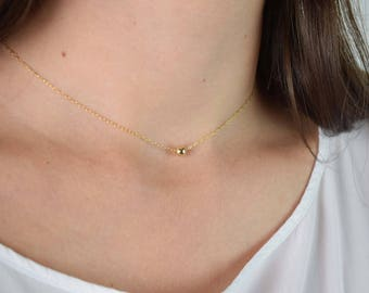 Gold Filled Bead Necklace | free shipping, gold filled necklace dainty, gold filled necklace, gold ball necklace, minimalist necklace gold