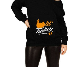 Thanksgiving Pregnancy Sweater Maternity Announcement Holiday Clothing Pregnant Clothes Thanksgiving Outfit Slouchy Sweatshirt TEP-47