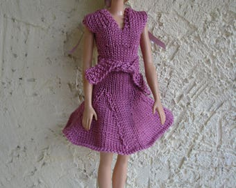 Purple dress with belt for Barbie knitted handmade, doll clothing