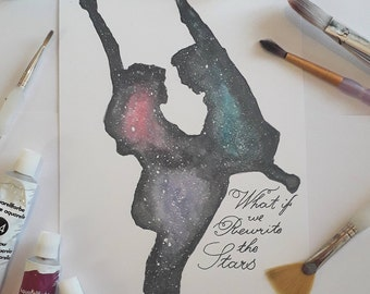 The Greatest Showman. Rewrite the Stars Celestial Silhouette Watercolour Painting in A5