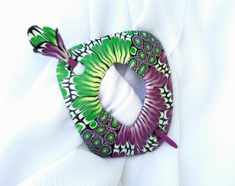 Ultra violet Scarf pin Unique jewelry Psychedelic brooch Shawl pin Fashion jewelry Statement jewelry Fibula Purple Green Hair accessories