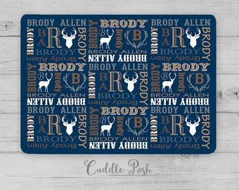 Baby Boy Name Blanket, DEER Baby Blanket, MONOGRAM BOY Nursery Bedding, Boy Name Nursery Quilt, Personalized Boy Shower Gift, Swaddle