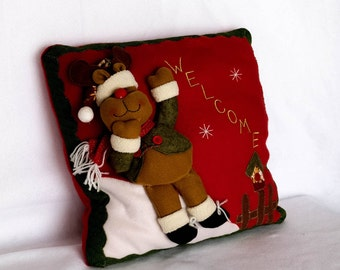 Holiday Reindeer Decorative Throw Pillow