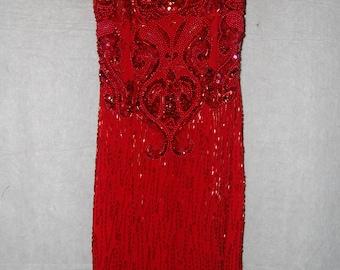 Elegant Vintage Alyce Designs Red Sequin Dress
