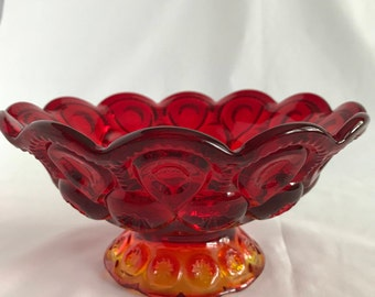 L.E. Smith Moon and Stars Amberina Compote bowl Ruby and amber glass Footed bowl 1960's glass Scalloped Glass bowl