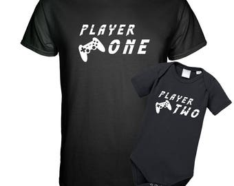 Player One and player two-father kind Gift Set Babysuit shirt