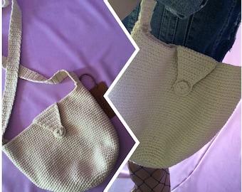 Vintage cream crotchet over shoulder hand bag