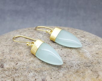 Dangle Earrings-Gold Earrings-Hook Earrings-AQUA-Chalcedony-InkaCreations-Rock and Roses-PETALS-Gift for lovers-mother's day-Women-Gift