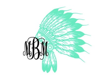 Indian Headdress Monogram Decal Sticker - Indian Chief - Tribal Sticker - Car Decal