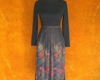 Vintage 1970s High Waisted Black Multi-colored Pointillism Skirt