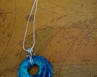 Hand painted Alcohol Ink Washer Necklace