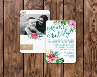 Tropical Brunch & Bubbly Bridal Shower Invitation