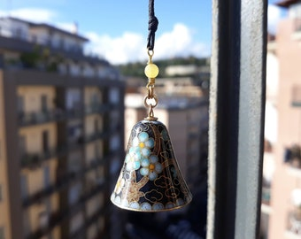 Campanella Cloisonnè-Pendant-Vintage years ' 80-lucky door-flowers-Gold-Flower-China-Bell-Luck