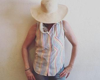 vintage 80's Lucky Winner striped sleeveless summer button up, S