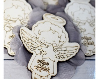 Angel Favors- Baby Shower Thank You Favors- Little Angel Favors- Angel Wings- Baptism Favors- Wooden Engraved Magnets- Angel Magnets- Baby