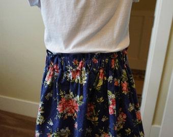 Blue Floral/Pink Gingham Skirt
