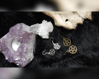 Pentagrammohrring, Pentagram Earrings-Wicca, witch, Witchy, goth, Pagan, Occult, Strega, ritual.